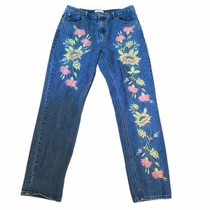 Glamorous Floral Embroidered Jeans Size 16